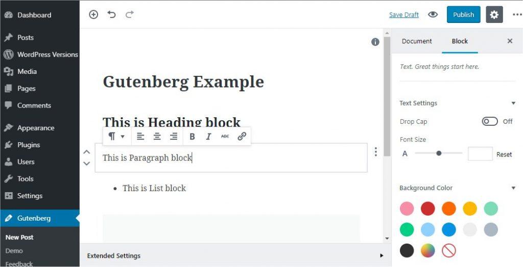 Gutenberg WYSIWYG editor screenshot